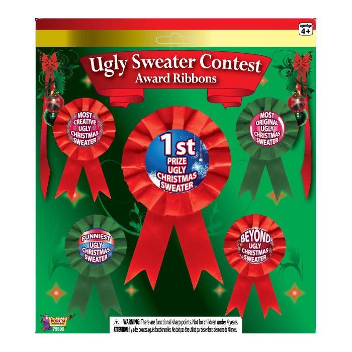Ugly Sweater Contest Award Ribbons Set